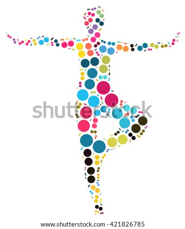 yoga pose design by point white background