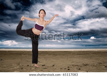 Yoga pose in beach, Asian girl doing excise in outdoor. - stock photo