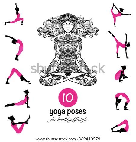 Yoga poses asanas pictograms composition poster - stock photo