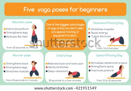 Yoga poses for beginners infographic. Five poses that everyone can do. Yoga infographics elements - stock photo