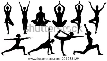Yoga Poses Woman Silhouette Isolated Over White Background, Set Of People Figures In Sport Gymnastics Training Exercise - stock photo
