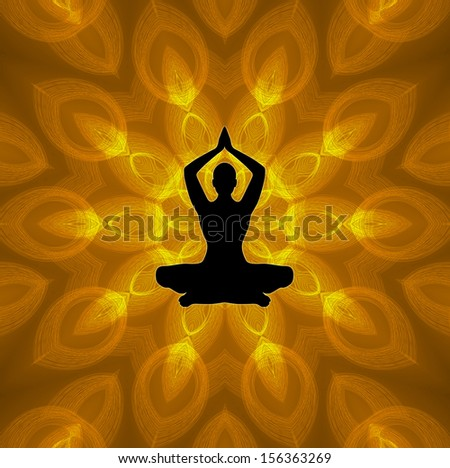 Yoga Position on Mandala Background - stock photo