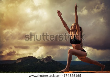 Yoga practice. Surya Namaskara movements sequence - stock photo