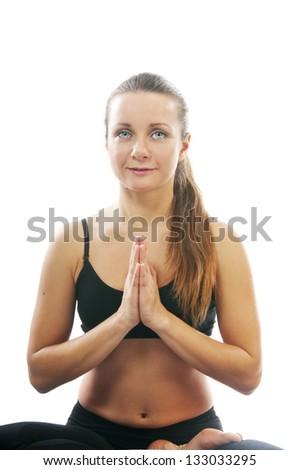 Yoga seria: namaskar mudra - stock photo