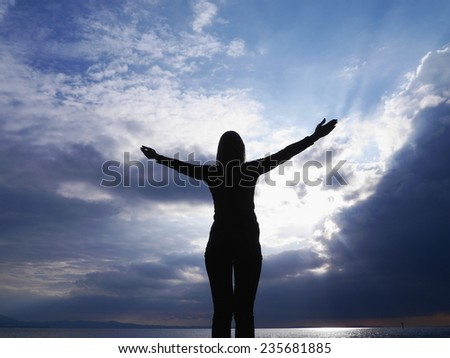 yoga silhouette sky welcome freedom - stock photo