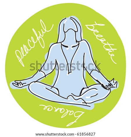 yoga sketch with balance, breathe and peaceful - stock photo