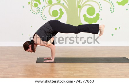 yoga student practicing different poses - stock photo