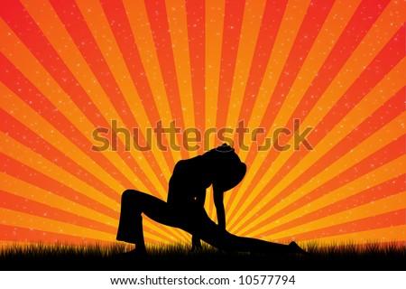 Yoga Sunset - stock photo