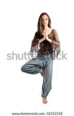 Yoga teacher in assan - stock photo