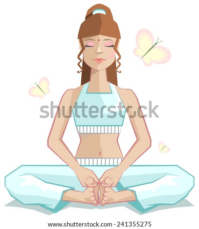 Yoga. The girl meditates in a pose of a butterfly - stock photo