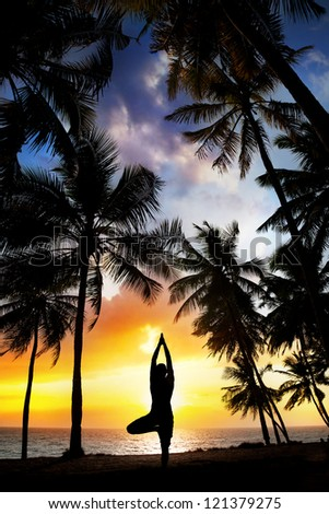 Yoga tree pose silhouette by man at palm trees, ocean and sunset sky background in India - stock photo