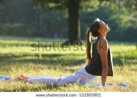 Yoga woman doing morning exercise, healthy woman
