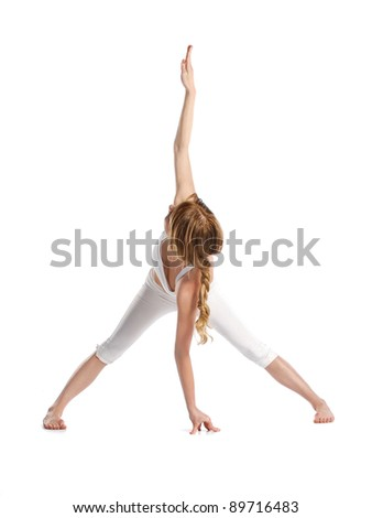 yoga woman fitness girl in white - stock photo