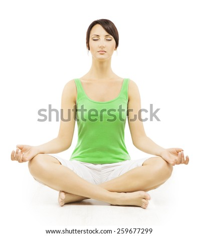 Yoga Woman in Meditation Sitting in Lotus Pose. Female Meditating Exercise Isolated Over White Background - stock photo