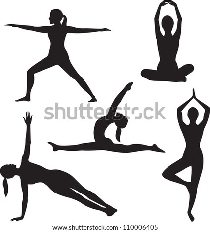 Yoga woman silhouette collection on white background. - stock photo