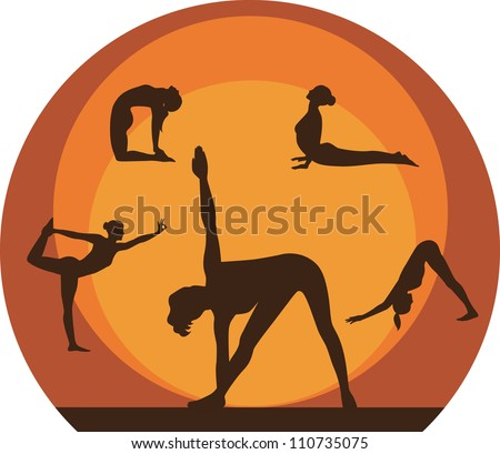 Yoga women silhouette icons.