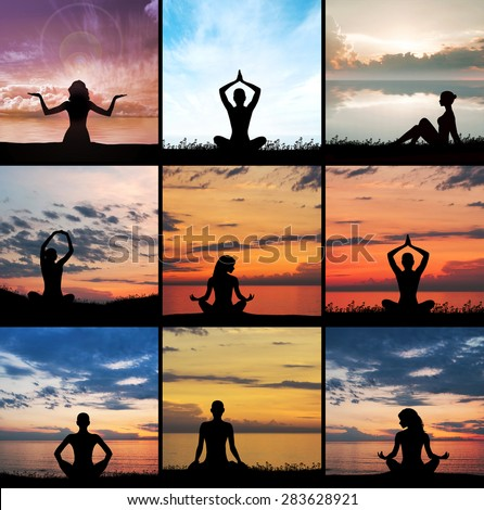 Yoga, zen and meditation set collage. Meditating silhouette.  - stock photo