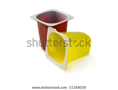 Yoghurt pots isolated on white