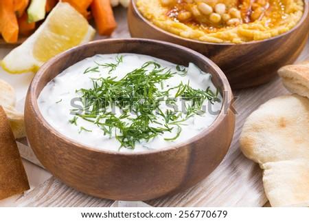 yoghurt sauce and hummus, vegetables and pita, close-up, horizontal - stock photo