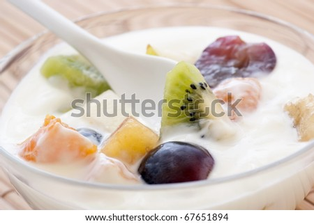 Yoghurt with Fruits - stock photo