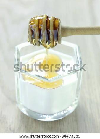 Yoghurt with honey - stock photo