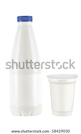 Yogurt and milk bottle and palstic cup - stock photo