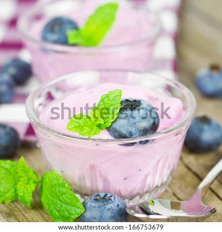 yogurt blueberries  - stock photo