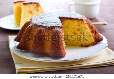 Yogurt citrus cake with icing powder on top - stock photo