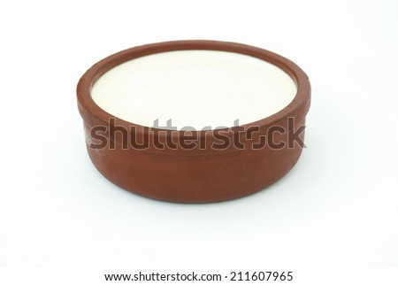 Yogurt in a Bowl on Isolated Background - stock photo