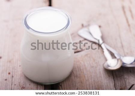 Yogurt in jars,homemade - stock photo