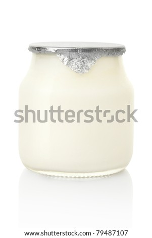 Yogurt jar isolated on white, clipping path included - stock photo