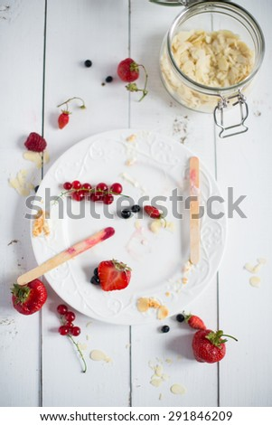 Yogurt Popsicles with fruits - stock photo