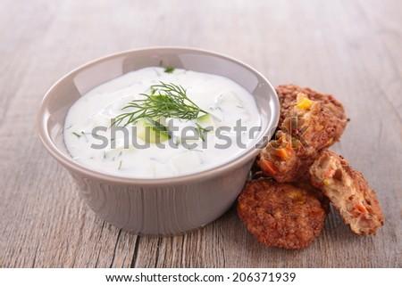 yogurt sauce  - stock photo