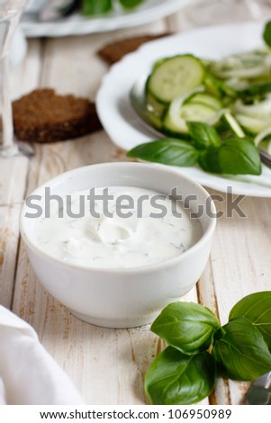 Yogurt sauce for a green summer salad - stock photo
