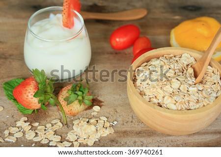 Yogurt smoothie fresh strawberry - stock photo