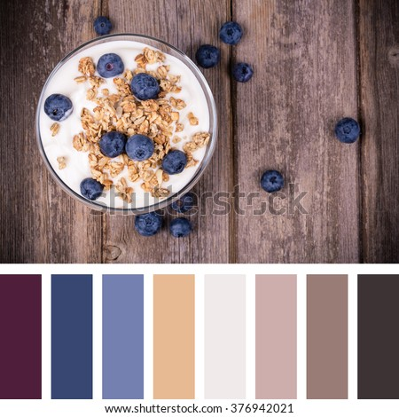 Yogurt with blueberries and granola over old wood background. In a colour palette with complimentary colour swatches. - stock photo