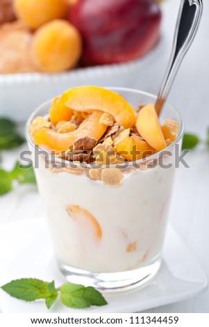 yogurt with muesli and apricot in small glass - stock photo