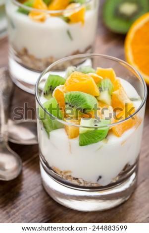 Yogurt with muesli and fruits - stock photo