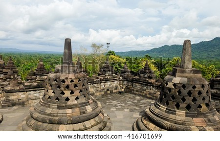 Yogyakarta, Indonesia - Apr 15, 2016 - Borobudur is an acheological site of Buddhist relics   founded in the central of Java island, Indonesia