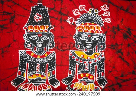 YOGYAKARTA, INDONESIA - SEPTEMBER, 13: Traditional indonesian handmade batik made by not identified author. Batik is traditional art made by applying wax and dye on fabric. Yogyakarta on Sept 13, 2014 - stock photo