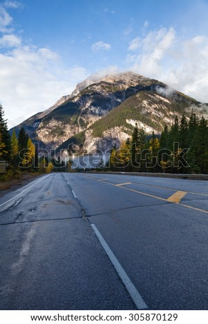 Yoho National park. Alberta. Canada, Oct. 2011, close Spiral Tunnel - stock photo