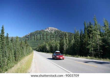 Yoho National Park of Canada. Trans-Canada Highway. - stock photo