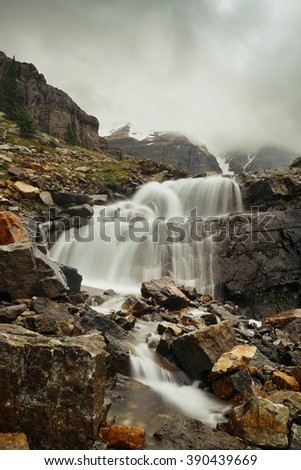 Yoho national park view with mountains, waterfall and forest in Canada. - stock photo