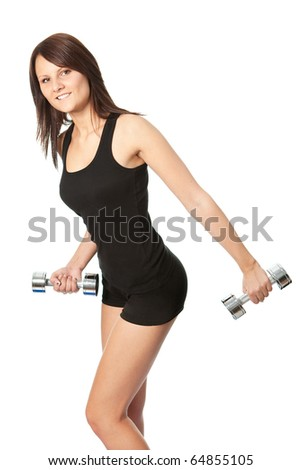 Yoing women doing weight training. Isolated on white