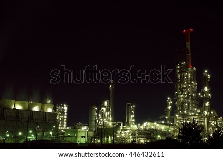 Yokkaichi Industrial complex Factory Night view , Mie prefecture, Japan