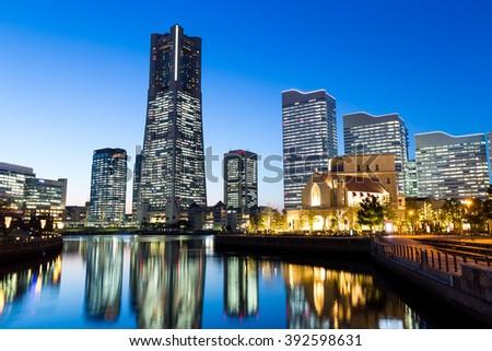 Yokohama bay at night - stock photo