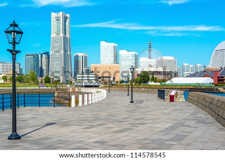 Yokohama City at Zo-No-Hana Park in Yokohama, Japan. Yokohama is the third biggest city in Japan. - stock photo