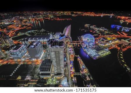 Yokohama city look from high building - stock photo