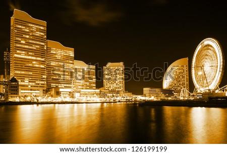 Yokohama city skyline at night - stock photo