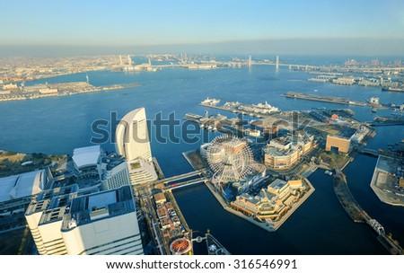 Yokohama Cityscape at Minato Mirai waterfront district in aerial view - stock photo